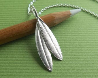 Double Olive Leaf Pendant - Pure Silver Real Leaf Pendant - Sterling Silver Chain