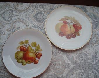 Lot #1 Set of Two Germany Bavaria Fruit Plates, Farmhouse Decor, Restaurant Decor, Country Decor, Fruit Pattern, Decorative
