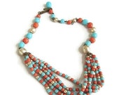 Vintage Southwest Style Multi Beads Necklace with Baroque Faux Pearls, Coral & Turquoise signed Japan