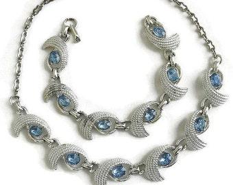 Vintage Blue Ice Rhinestone Necklace and Bracelet Demi Parure Set