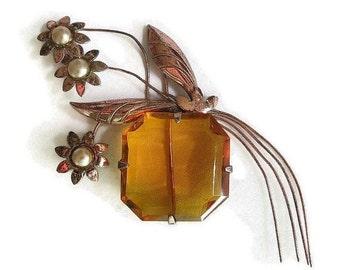 Large Art Deco Flower Brooch Topaz Cut Glass & Copper Vintage