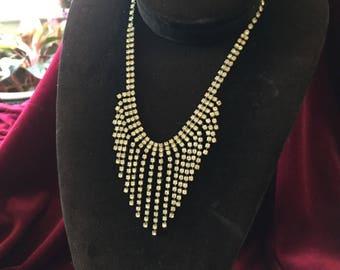 Beautiful Fringe Rhinestone Necklace