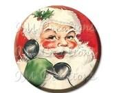 "ON SALE - Pocket Mirror, Magnet or Pinback Button - Favors - 2.25""- Retro Santa Claus Calling MR198"