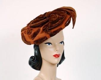 SALE - Antique Victorian Hat - 1890s Elegant Caramel Fur Felt and Brown Velvet Tilt Style Hat with Woven Ribbon Styling