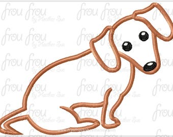 "Dachshund Dog Digital Embroidery Design Machine Applique 4""-16"""