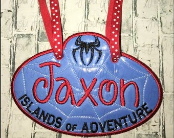 "Digital Embroidery Design Machine Applique Stroller Name Tag Spider Superhero Island Adventure IN THE HOOP Project 4""-16"""