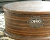 RESERVED FOR JANET | Vintage Wood Trinket Box | Oval Jewel Chest | Antique Jewelry Box | Inlaid