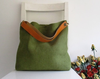 Basic Perfect Shoulder bag / Messenger In Green and Yellow Strap