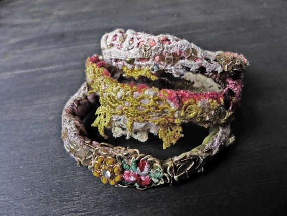 "Stitched textile bangle stack - Bohemian fabric bracelet set ""Ensorcell"""