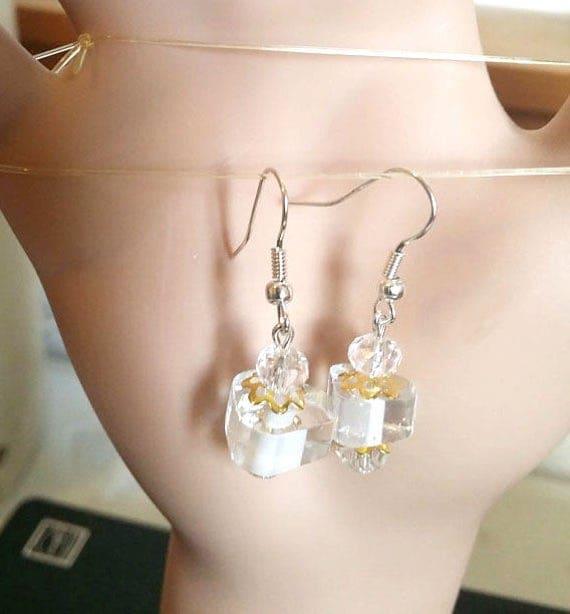 cats eye crystal beads earrings drop dangles clear glass bead jewelry
