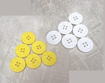 Ship Anchor Buttons - CHOOSE 18mm, 3/4 inch, 25mm 1 inch - White, Yellow - Nautical Ship Anchor Pea Coat Plastic Sewing Buttons PL583 PL584