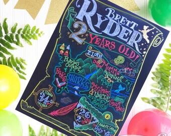 Peter Pan Birthday Chalkboard Sign- neverland birthday chalkboard, first birthday, pirate party, Peter Pan party decor, second birthday