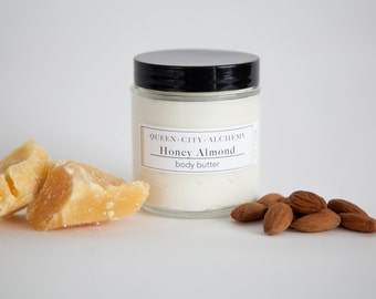 Honey Almond Body Butter // Body Cream // Body Lotion // All Natural // Organic Ingredients // Whipped with Cocoa Butter & Coconut Oil