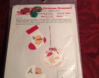 Vintage--1979--Columbia-Minerva--Baby's First Christmas Ornaments--Kit--Crewel--Christmas--