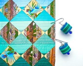 BLUE GREEN Dangles, Vulcanite Earrings, Trade Bead Earrings, Tribal Chic Dangles, Modern Dangles, Stack Earrings, Urban Chic earrings
