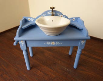 Dollhouse miniature  blue washstand with white sink  in 12th scale