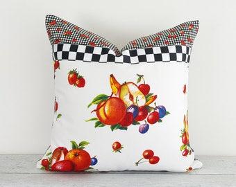 Unique Black White Checked Pillow, Vintage Apple Pillows, Whimsical Pillow Covers, Cherries Pillow, Black White Red Pillow, 14x18, 16x16
