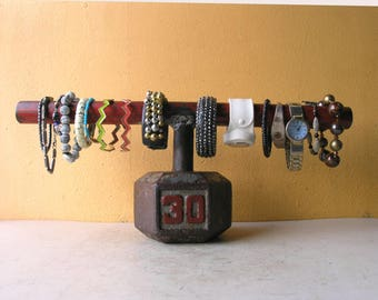 Industrial Bracelet Holder Weight Lifter Gift Workout Room Decor Exercise Gift for Couples Jewelry organizer retail boutique display stand