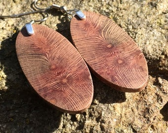 Amazing Rare Triple Burst Macadamia Wood Lightweight Earrings