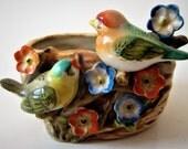Birds on a Nest Planter Vase Art Pottery Lustreware Capodimonte Style Flowers Floral Vintage Decorative Figurine Occupied Japan Circa 1940s