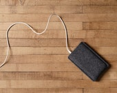 Simple iPhone Case - Charcoal Felt for iPhone 7, iPhone 7 Plus and iPhone SE - Made in the USA of 100% wool felt
