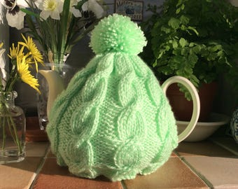 Knitted tea cosy in Spring Green cable tea cosy fits 4-6 cup pot