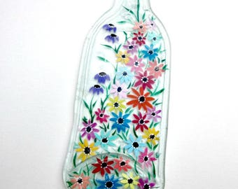 Melted Wine Bottle, Serving Tray, Cheese Tray,  Spoon Rest, Kitchen Trivet,  Clear Wine Bottle Hand Painted with Colorful Flowers