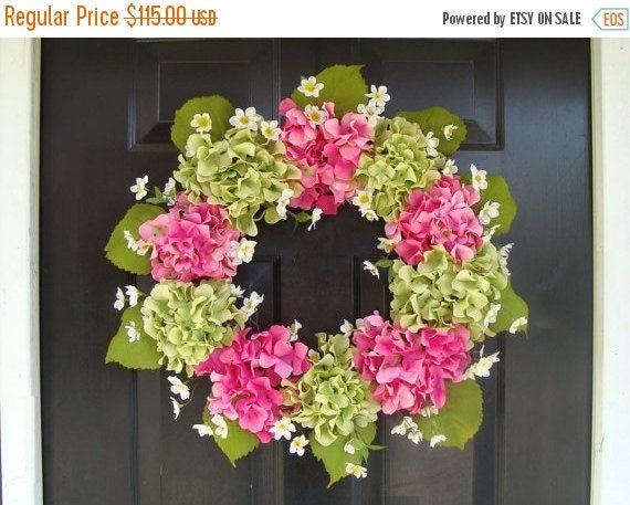 SPRING WREATH SALE Summer Wreath- Mother's Day Wreath- Hydrangea Spring Wreath- Summer Wreaths- Mother's Day Gift- Year Round Wreath
