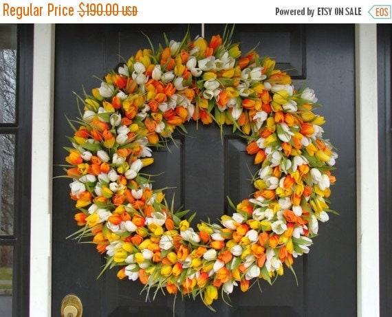 SPRING WREATH SALE Mini Tulip Spring Wreath- 28 inch Tulip Wreath- Spring Wreath for Door (16-24 inch Sizes Also Available)- Summer Wreath