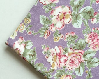 Fabric, Flowery, Flower, purple, violet, lavender, Canvas, cute, crafting,girl, vintage, garden, baby, rose, yellow, red, soft, ONE YARD