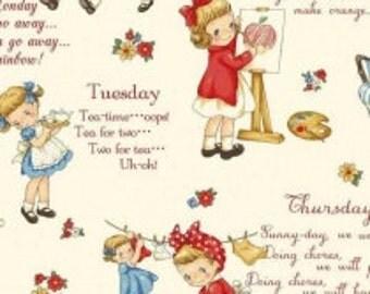 Children's Fabric, Vintage Dear Little World - Margaret & Sophie White Multi Days Of The Week Cotton Fabric