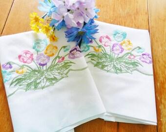 Pansy Pillowcases, White Pillowcases, Hand Embroidered Pillowcases, Pastel Pillowcases, Spring Pillowcases, Wedding Gift