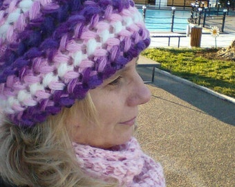 Luxury Mohair purple colorful crochet hat, berets,  2017 design, very soft Cold Weather Crochet Woman, Chunky
