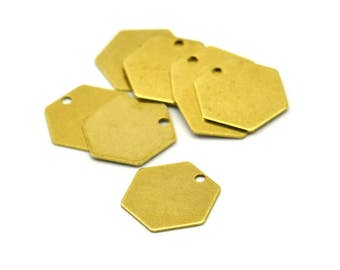 Brass Honeycomb Pendant, 50 Raw Brass Hexagon Stamping Blank Tag, Charms (12mm) Brs 4090d A0157