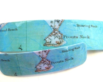 Prouts Neck Maine French Barrette - Mother Daughter gift - Mainemade - with Resin Coat - Scarborough -