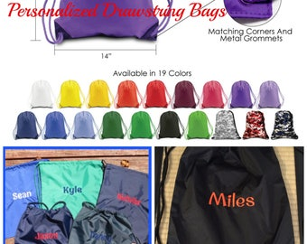 Personalized Drawstring Bag.  Monogrammed Gym Bag.  17 colors to choose from. Cinch Sack, Gym Bag, Drawstring Bag. LB8881