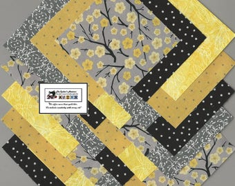 """40~4"""" Yellow_Gray Blossoms Fabric Squares/Quilt/Craft/Sewing/Charm Packs #0908"""