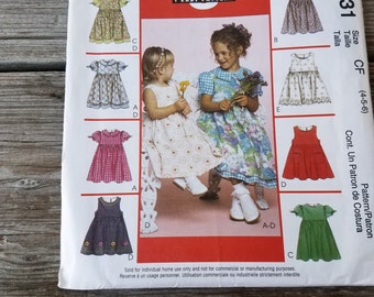 McCall's 3531 Pattern Girl's Dress & Pinafore Sizes 4,5,6 Uncut Easy