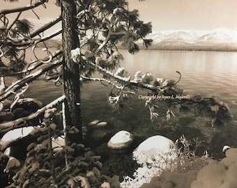 Lake Tahoe, early morning snow - vintage photo on canvas