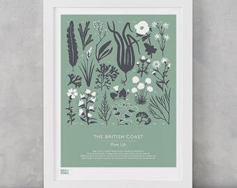 British Coast Plants Screen Print, Nature Wall Art, Nature Art Print, British Coast Art Print, Plant Wall Decor, Flower Art Print