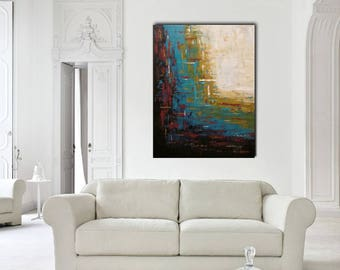 Original large abstract painting palette knife landscape wall art deco by Elsisy 48x36 Free US shipping