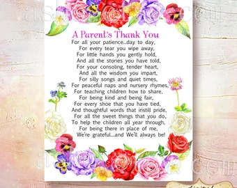 SALE Teacher Appreciation Print - End of Year Teachers Gift - Childcare Teachers Gift - Instant Download Digital File - A Parents Thank You!