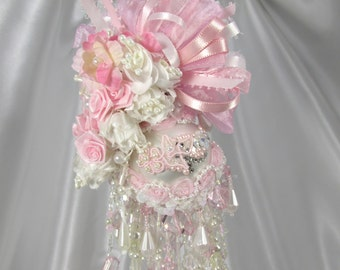 Pink and White Pearl 9.5 inch tall Beaded Victorian Ornament with 70 Swarvoski Crystals and Pearls