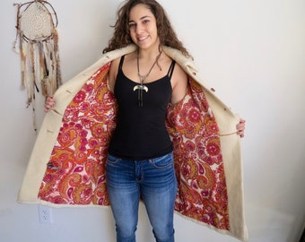 Vintage Almost Famous Style Hippie Boho Floral Embroidered 1970s Cream Wool/Mohair Jacket Medium Large Free Shipping