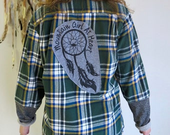 Dreamcatcher Mountain Girl At Heart Plaid Flannel Green Earthy Top Shirt Womens Hippie Boho Festival One Size