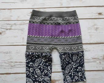 12-18 Months Baby Polka Heart Floral Printed Baby Leggings Purple Gray Blue Bohemian Hippie Upcycled Recycled OOAK Baby Clothing Clothing