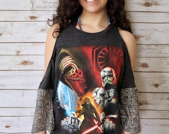 Star Wars India Tapestry floral Print Open Shoulder Cut Out Shoulder Boho Bell Sleeve Upcycled Tshirt/Tee/Top/Shirt Womens One Size