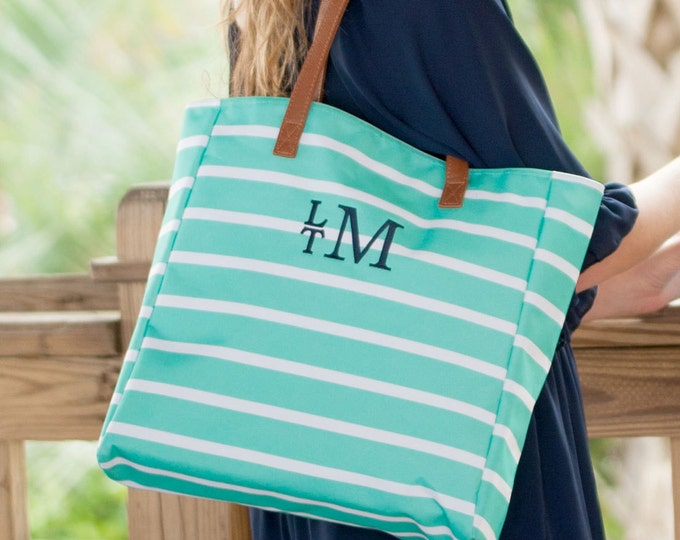 Mint Green Monogrammed Striped Tote Bag Personalized Striped Beach Bag Overnight Wedding Bridesmaids Outer Banks BeachHouseDreamsHomeOBX
