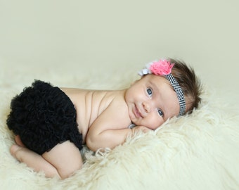 Black Bloomers Black White Tribal Aztec Headband Set 0 3 months Photography Prop Newborn Take home outfit Coral Salmon Flower BOHO BABY
