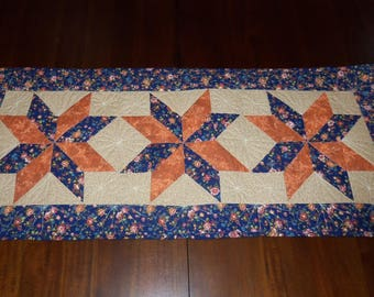 Quilted Table Runner, Table Topper, Fabric Centerpiece, Machine Quilted, 18x41 Inches, Evening Star, Dining Table Decor
